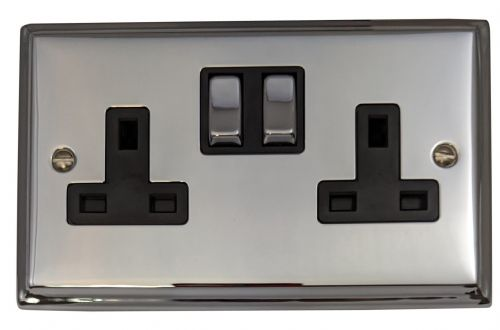 G&H DC310 Deco Plate Polished Chrome 2 Gang Double 13A Switched Plug Socket